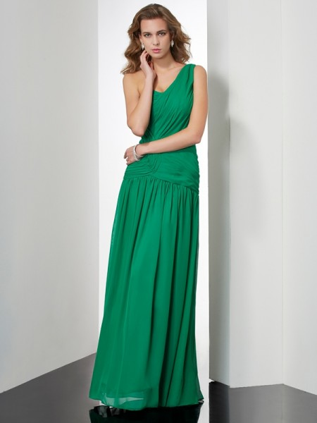 Stylish A-Line/Princess Sleeveless Pleats One-Shoulder Long Chiffon Dresses