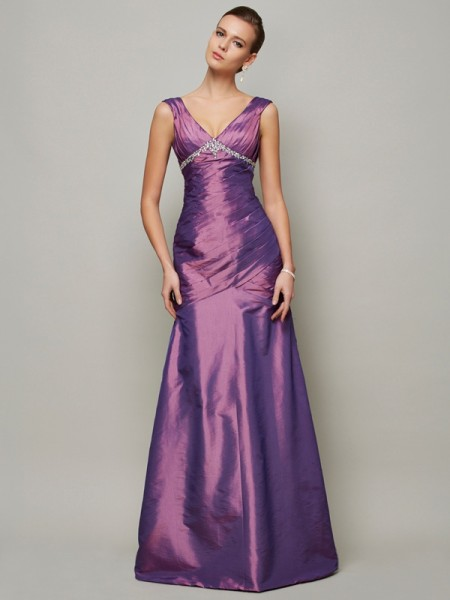 Stylish Sheath/Column Sleeveless Beading V-neck Long Taffeta Dresses