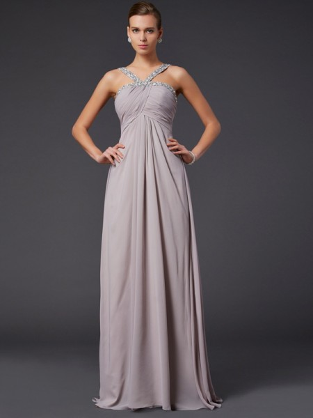 Fashion A-Line/Princess Sleeveless Beading Halter Long Chiffon Dresses