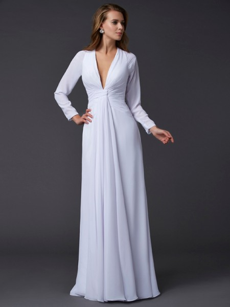Stylish Sheath/Column Long Sleeves Ruched V-neck Long Chiffon Dresses