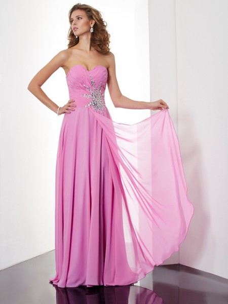Stylish A-Line/Princess Sleeveless Ruched Sweetheart Long Chiffon Dresses