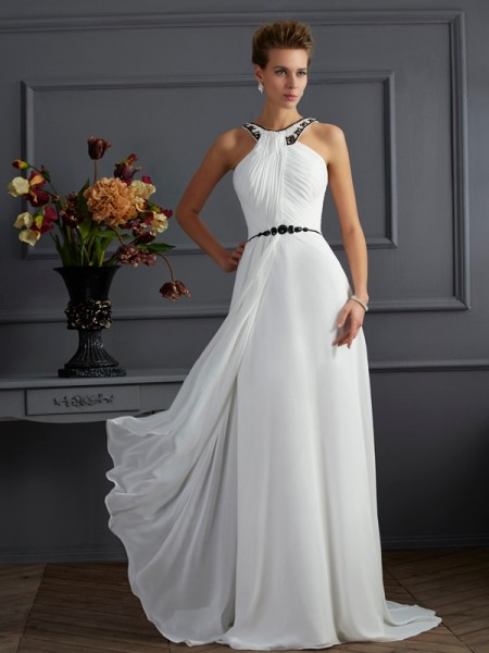 Stylish A-Line/Princess Sleeveless Beading High Neck Long Chiffon Dresses