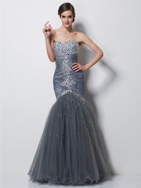Fashion Trumpet/Mermaid Sleeveless Beading Sweetheart Long Net Dresses
