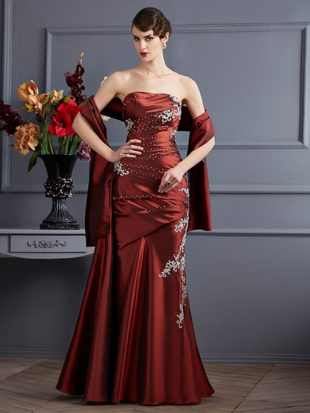 Stylish Sheath/Column Sleeveless Beading Strapless Long Taffeta Dresses