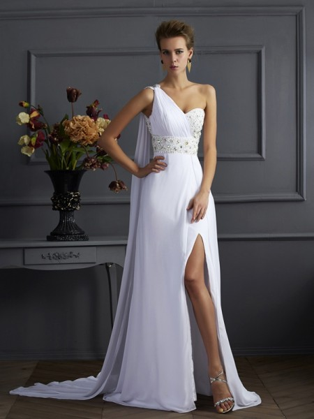 Stylish Sheath/Column Sleeveless Beading One-Shoulder Long Chiffon Dresses