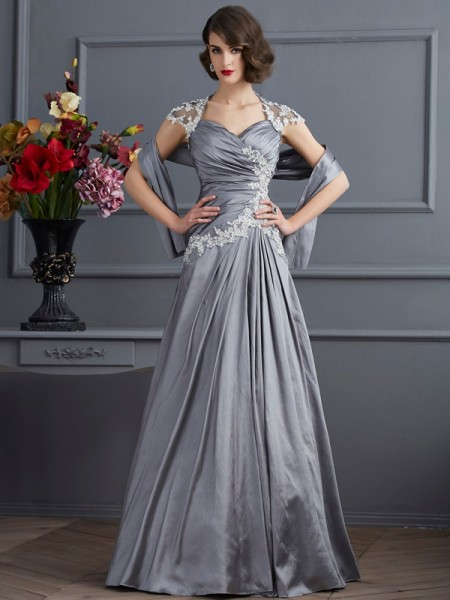 Fashion A-Line/Princess Short Sleeves Beading Sweetheart Long Taffeta Dresses