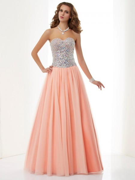 Fashion A-Line/Princess Sleeveless Beading Sweetheart Long Elastic Woven Satin Dresses