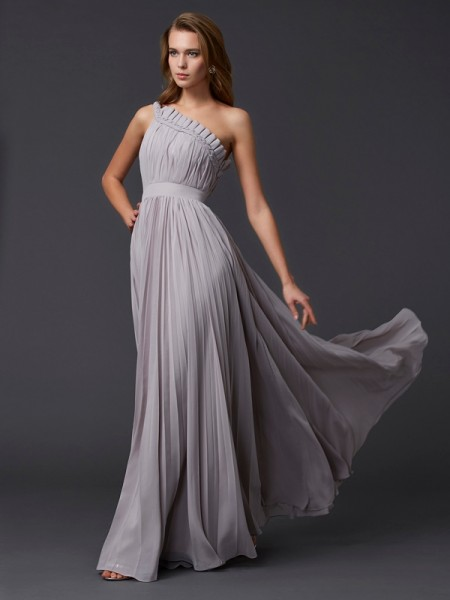 Fashion A-Line/Princess Sleeveless Pleats One-Shoulder Long Chiffon Dresses