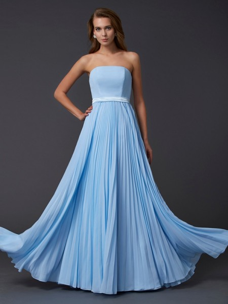 Stylish A-Line/Princess Sleeveless Ruched Strapless Long Chiffon Dresses