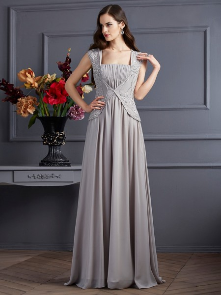 Stylish A-Line/Princess Sleeveless Beading Square Long Chiffon Dresses