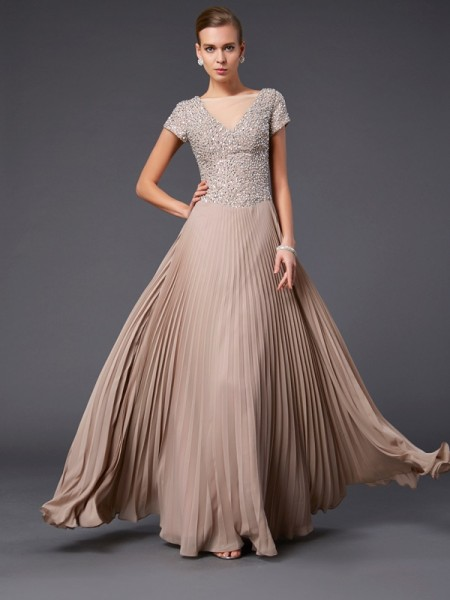Fashion A-Line/Princess Short Sleeves Beading V-neck Long Chiffon Mother of the Bride Dresses
