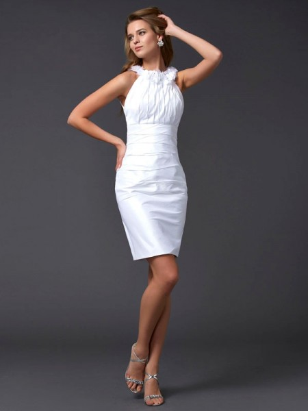 Fashion Sheath/Column Sleeveless Hand-Made High Neck Flower Short Taffeta Homecoming Dresses