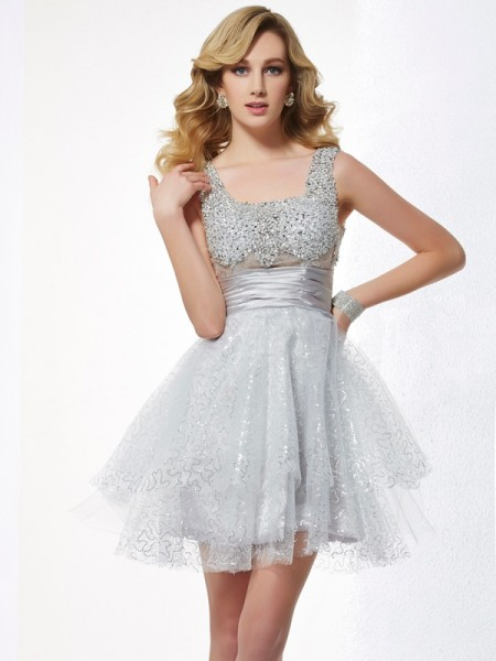 Fashion A-Line/Princess Sleeveless Beading Straps Short Elastic Woven Satin Homecoming Dresses
