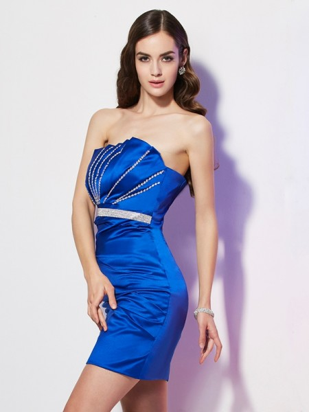 Fashion Sheath/Column Sleeveless Beading Strapless Short Satin Homecoming Dresses