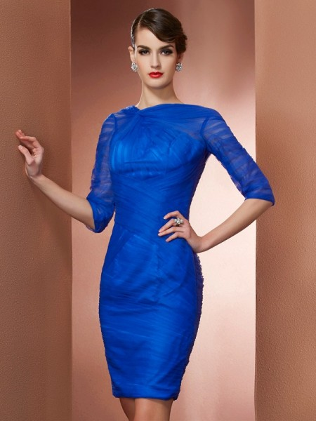 Stylish Sheath/Column 1/2 Sleeves Pleats High Neck Short Elastic Woven Satin Homecoming Dresses