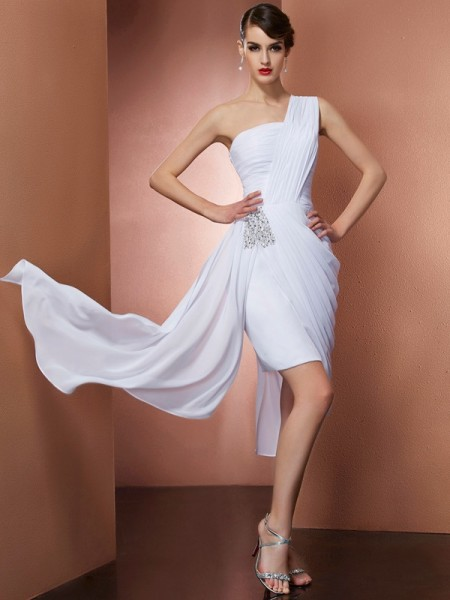 Fashion Sheath/Column Sleeveless Pleats One-Shoulder Beading Short Chiffon Homecoming Dresses