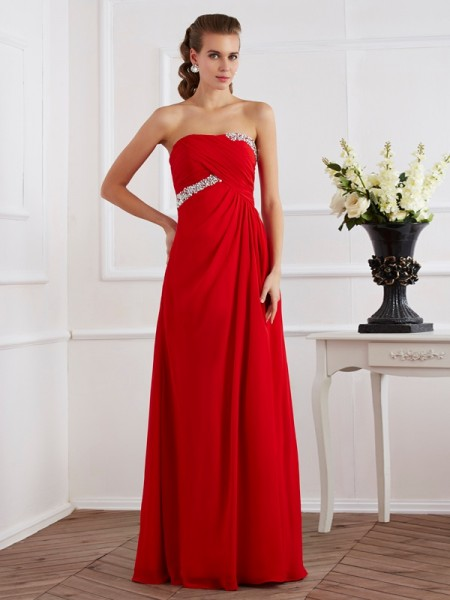 Fashion Sheath/Column Sleeveless Beading Strapless Long Chiffon Dresses