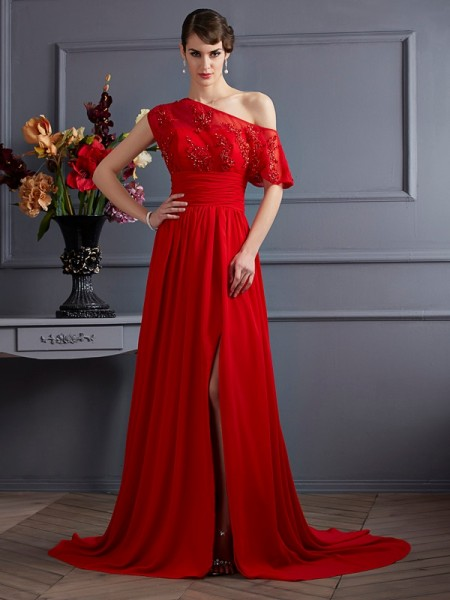 Stylish A-Line/Princess Sleeveless Applique One-Shoulder Long Chiffon Dresses