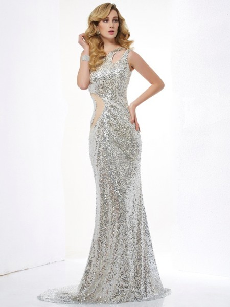 Stylish Trumpet/Mermaid Sleeveless Lace One-Shoulder Long Lace Dresses