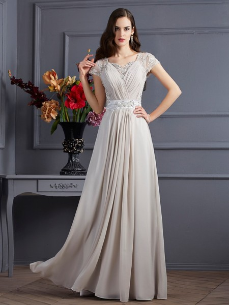 Stylish A-Line/Princess Short Sleeves Beading Sweetheart Long Chiffon Dresses