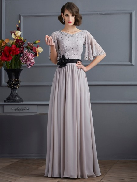 Fashion A-Line/Princess 1/2 Sleeves Beading High Neck Long Chiffon Dresses