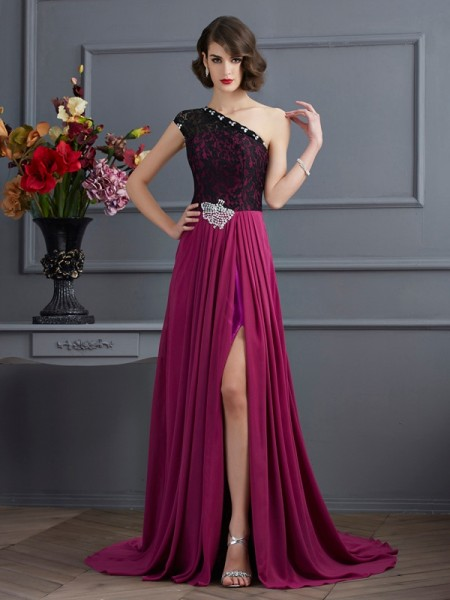 Stylish A-Line/Princess Sleeveless Lace One-Shoulder Long Chiffon Dresses