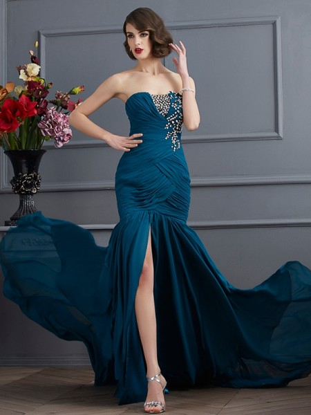 Fashion Trumpet/Mermaid Sleeveless Beading Strapless Applique Long Chiffon Dresses