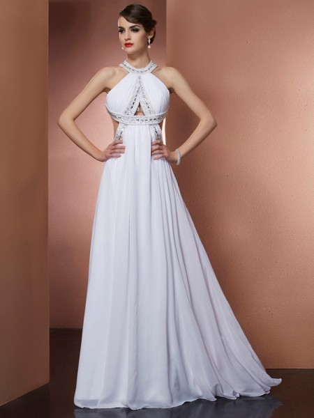 Stylish A-Line/Princess Sleeveless Beading Bateau Long Chiffon Dresses