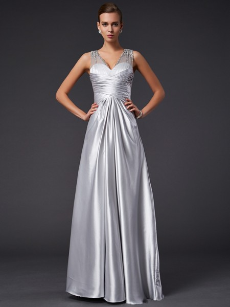 Stylish A-Line/Princess Sleeveless Beading V-neck Long Elastic Woven Satin Dresses