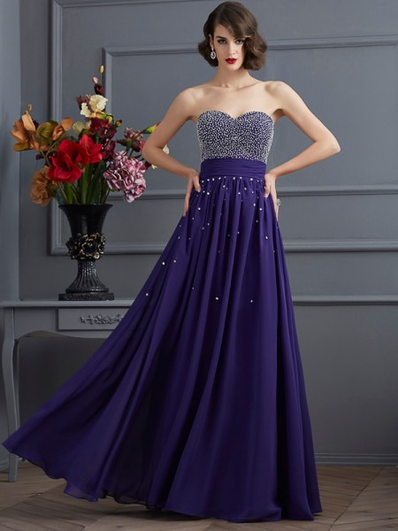 Fashion A-Line/Princess Sleeveless Beading Sweetheart Long Chiffon Dresses