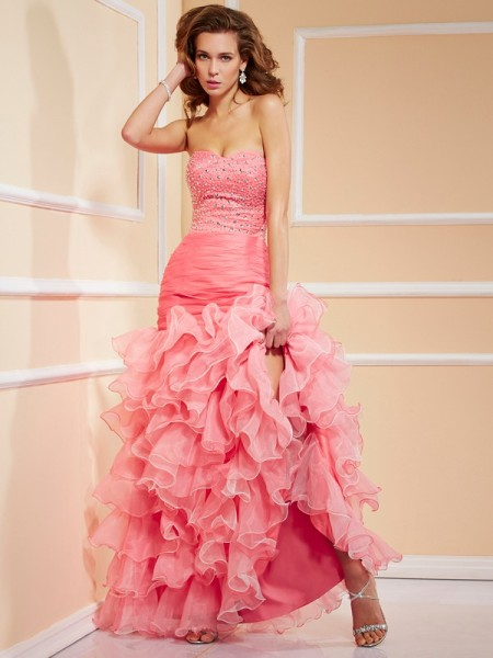 Fashion Trumpet/Mermaid Sleeveless Ruffles Sweetheart High Low Organza Dresses