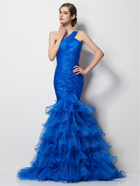 Stylish Trumpet/Mermaid Sleeveless Pleats One-Shoulder Long Tulle Dresses