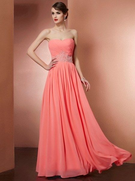 Fashion A-Line/Princess Sleeveless Pleats Strapless Beading Long Chiffon Dresses
