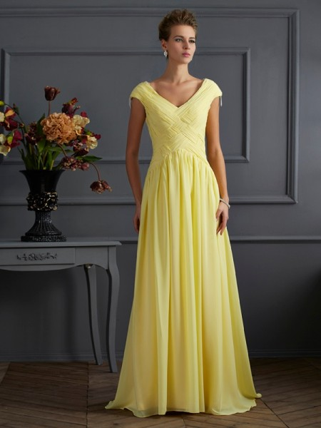 Stylish A-Line/Princess Short Sleeves Pleats V-neck Long Chiffon Dresses