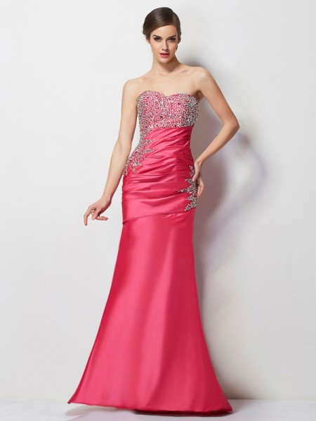 Fashion Trumpet/Mermaid Sleeveless Beading Sweetheart Long Taffeta Dresses