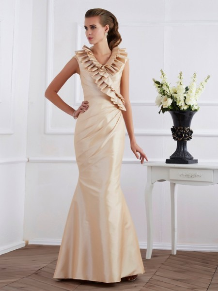 Stylish Sheath/Column Short Sleeves Ruffles V-neck Long Taffeta Mother of the Bride Dresses