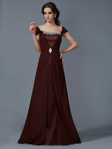 Fashion A-Line/Princess Short Sleeves Long Strapless Chiffon Dresses