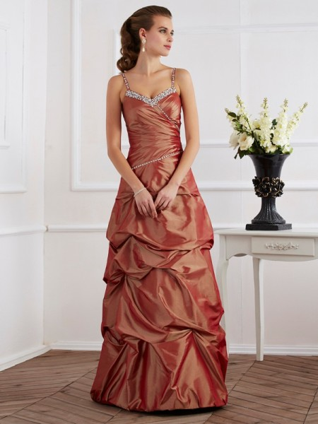 Stylish Sheath/Column Straps Sleeveless Spaghetti Beading Long Taffeta Dresses