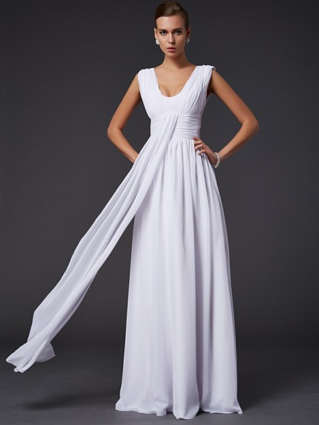 Fashion A-Line/Princess Sleeveless Pleats Jewel Long Chiffon Dresses