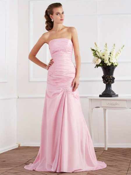 Stylish Trumpet/Mermaid Sleeveless Beading Strapless Long Taffeta Dresses