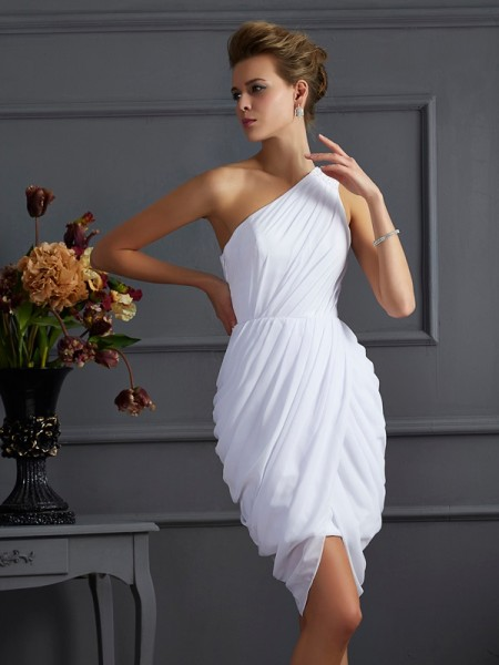 Fashion Sheath/Column Sleeveless Pleats One-Shoulder Short Chiffon Homecoming Dresses