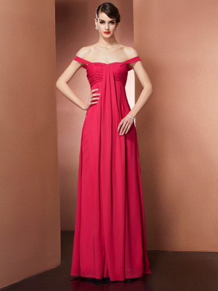 Stylish A-Line/Princess the Shoulder Off Sleeveless Beading Long Chiffon Dresses