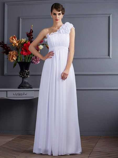 Fashion A-Line/Princess Sleeveless Pleats One-Shoulder Applique Long Chiffon Dresses