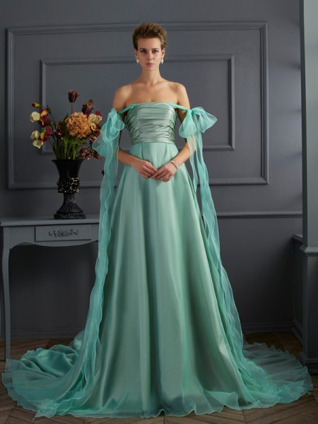 Stylish A-Line/Princess the Shoulder Off Sleeveless Long Taffeta Dresses