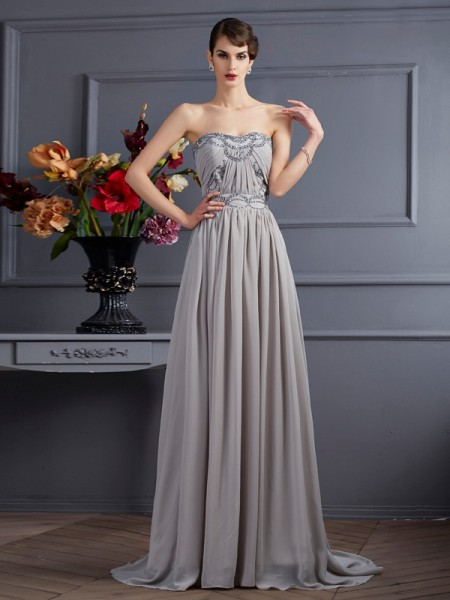 Stylish A-Line/Princess Sleeveless Beading Sweetheart Pleats Long Chiffon Dresses