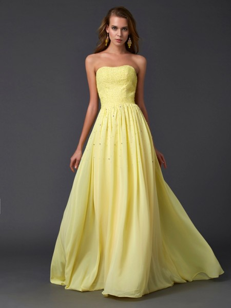 Fashion A-Line/Princess Sleeveless Pleats Strapless Long Chiffon Dresses