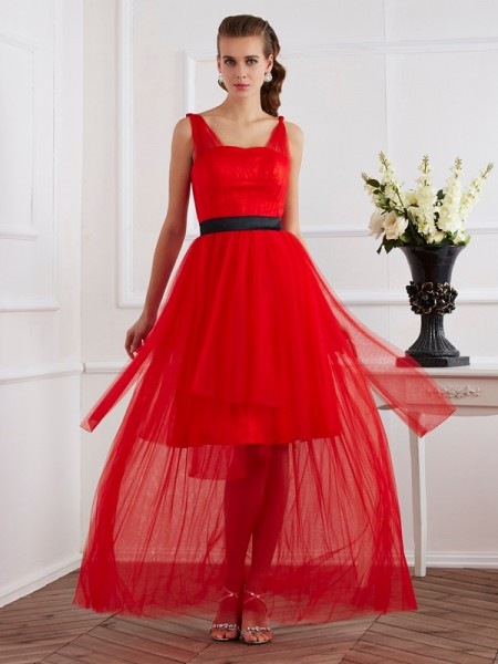 Stylish A-Line/Princess Sleeveless Pleats Straps Long Elastic Woven Satin Dresses