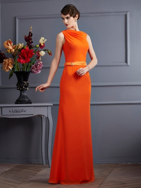Fashion Sheath/Column Sleeveless Sash/Ribbon/Belt High Neck Long Chiffon Dresses