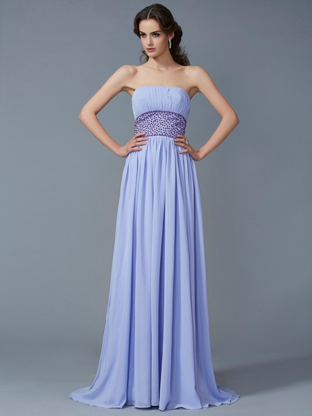 Fashion A-Line/Princess Sleeveless Beading Strapless Long Chiffon Dresses