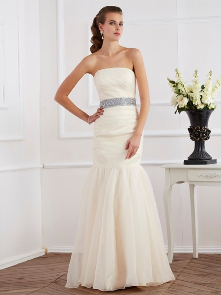 Stylish Trumpet/Mermaid Sleeveless Sash/Ribbon/Belt Strapless Long Organza Dresses